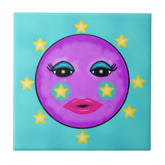 Cute Fantasy Purple Moon Face Stars Tile