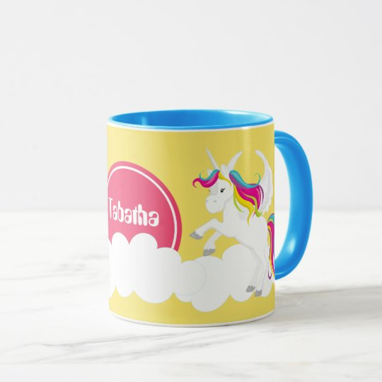 cute fantasy unicorn add name coffee mug