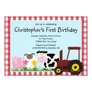 Cute Farm Animal Birthday Party Invitations