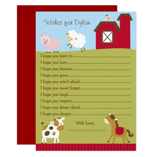 Cute Farm Animal Wishes For Baby Card