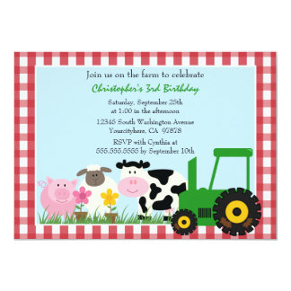 Cute farm animals birthday party invitation