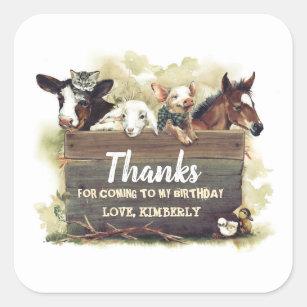 Cute Farm Animals Birthday Thank You Square Sticker