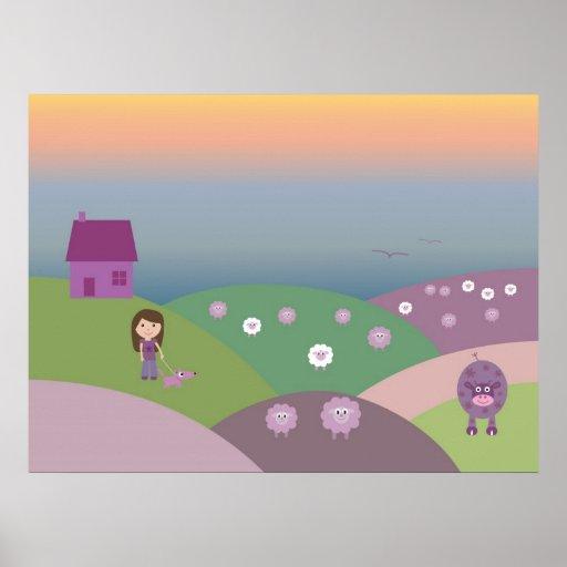 Cute Farm Animals & Girl Walking Dog Pretty Custom Print