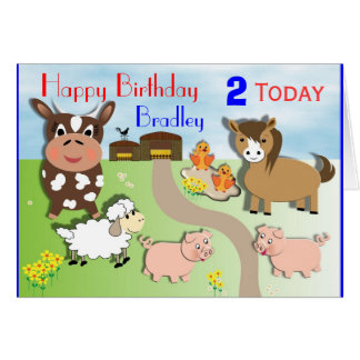Cute Farm Animals Kids Birthday Card