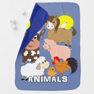 Cute Farm Animals Kids Whimsy fun Design Baby Blanket