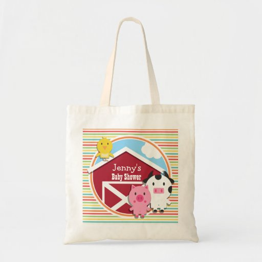 Cute Farm Baby Shower, Bright Rainbow Stripes Canvas Bags