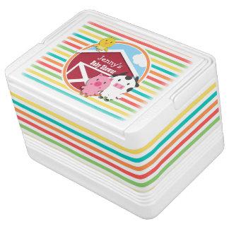 Cute Farm Baby Shower, Bright Rainbow Stripes Igloo Cooler