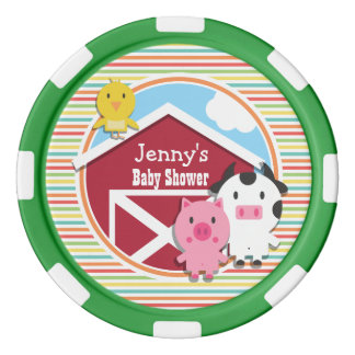 Cute Farm Baby Shower, Bright Rainbow Stripes Poker Chips