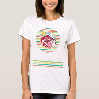 Cute Farm Baby Shower, Bright Rainbow Stripes T-Shirt