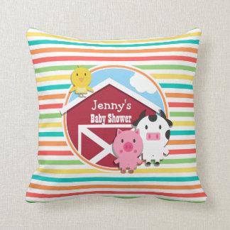 Cute Farm Baby Shower, Bright Rainbow Stripes Throw Cushion