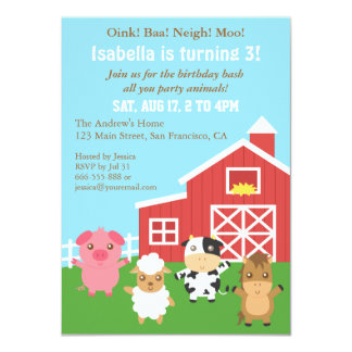 Cute Farm Barnyard Animal Birthday Party Personalized Announcement