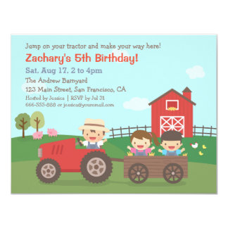 Cute Farm Tractor Kids Birthday Party Invitations