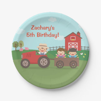 Cute Farm Tractor Kids Birthday Party Supplies 7 Inch Paper Plate