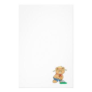 Cute Farmer Bear Stationery Paper