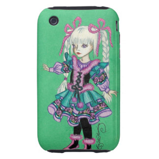 Cute fashion girl with blonde braids tough iPhone 3 cases