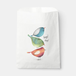 Cute Fat Birds Standing on Each Other Favour Bags