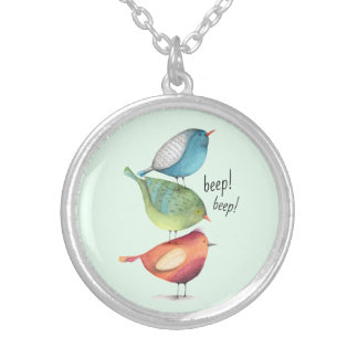 Cute Fat Birds Standing on Each Other Silver Plated Necklace