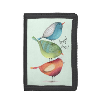 Cute Fat Birds Standing on Each Other Tri-fold Wallet