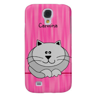 Cute Fat Cat on Pink Personalized Name Cover