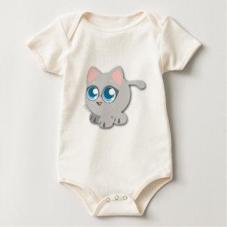 Cute Fat Grey Kitten Baby Bodysuit