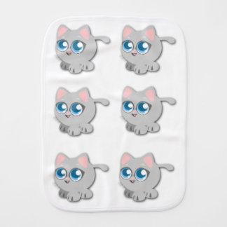 Cute Fat Grey Kitten Burp Cloth