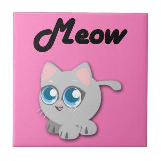 Cute Fat Grey Kitten Meow Tile