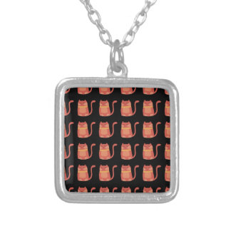 Cute Fat Kitty Cats in Pink Melon on Black Square Pendant Necklace
