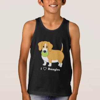 Cute Fat Lemon & White Beagle with Tennis Ball Tank Top
