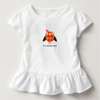 Cute Fat Orange Checkered Bird Cartoon Toddler T-Shirt