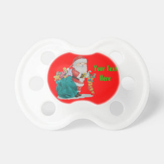 Cute father christmas toys stripy stocking gifts baby pacifiers