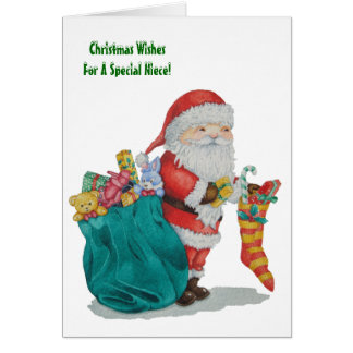 Cute father christmas with toys and gifts in sack greeting card