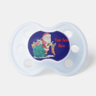 Cute father christmas with toys and gifts in sack pacifier