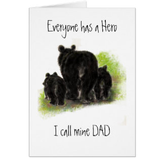 Cute Father s Day Dad my Hero Bear Family Greeting Card