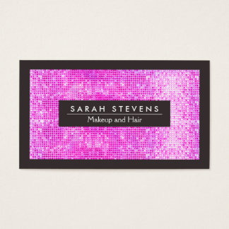 Cute Faux Hot Pink Sequins Beauty and Fashion Business Card