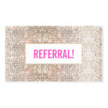 Cute Faux Silver Sequin Pink Beauty Salon Referral Pack Of Standard Business Cards