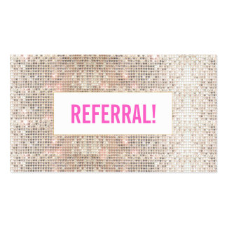 Cute Faux Silver Sequins Pink Cosmetology Referral Pack Of Standard Business Cards