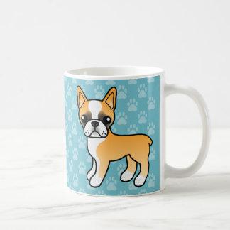 Cute Fawn Cartoon Boston Terrier Basic White Mug