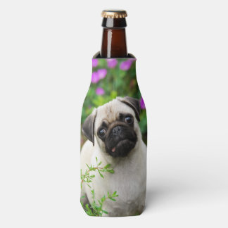 Cute Fawn Colored Pug Puppy Dog, Bottle-Jacket