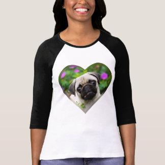 Cute Fawn Colored Pug Puppy Dog Face Photo Heart / T-Shirt