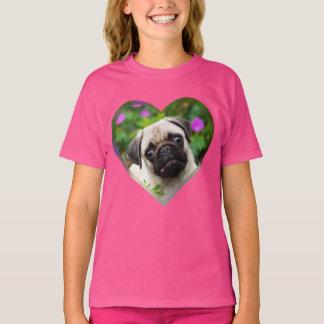Cute Fawn Colored Pug Puppy Dog Face Photo Heart - T-Shirt