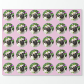 Cute Fawn Colored Pug Puppy Dog Photo - Gift Wrapping Paper