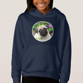 Cute Fawn Colored Pug Puppy Dog Portrait - Girly