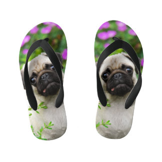 Cute Fawn Colored Pug Puppy Dog Portrait - Kids Flip Flops