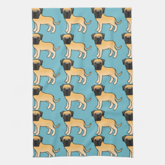 Cute Fawn Old English Mastiff Dogs Pattern Tea Towel