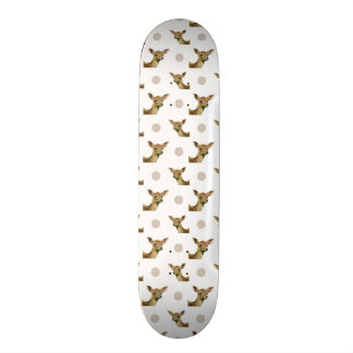 Cute fawn polka dots pattern skateboard