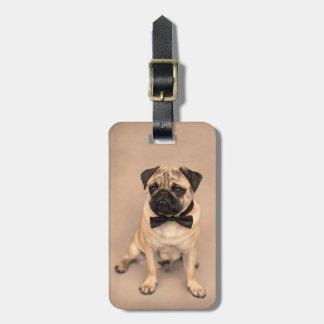 Cute Fawn Pug Dog with Bow Tie Luggage Tag