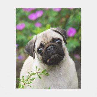 Cute Fawn Pug Puppy Doggie, comfort Fleece Blanket