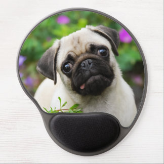 Cute fawn pug puppy gel mouse pad