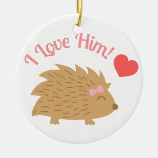 Cute Female Hedgehog in Love, I love him Round Ceramic Decoration