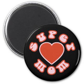Cute Feminine Girly Moms Super Mom + Heart Magnet
